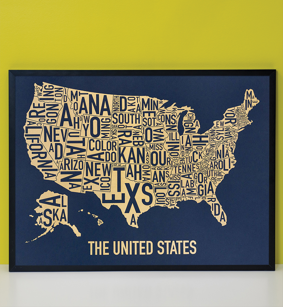 United States Map X Gold Rush Screenprint - United states map picture frame