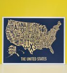 United States Map in Silver Frame