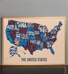 United States Map in Bronze Frame