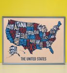 United States Map in Grey Frame