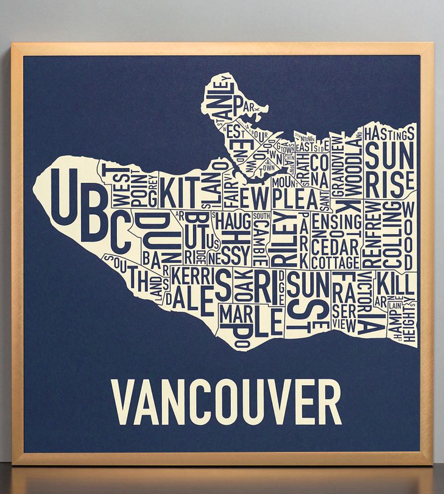 "Vancouver Neighbourhood Map 18"" X 18"" Navy Waters Screenprint"