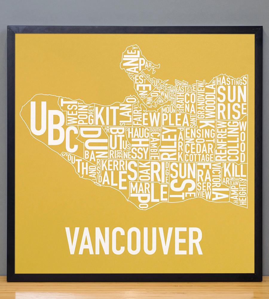 """Vancouver Neighbourhood Map 18"""" X 18"""" Golden Sun Screenprint"""