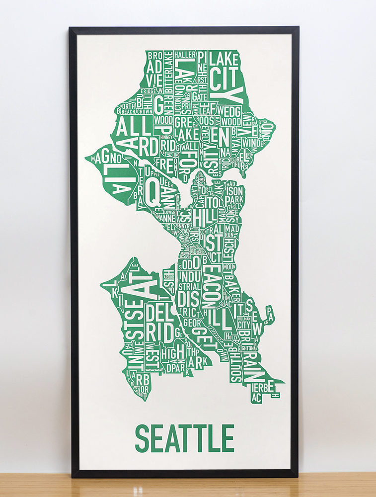 Seattle Neighborhood Map 16 x 32 Emerald City Green Poster