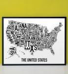 United States Map in Black Frame