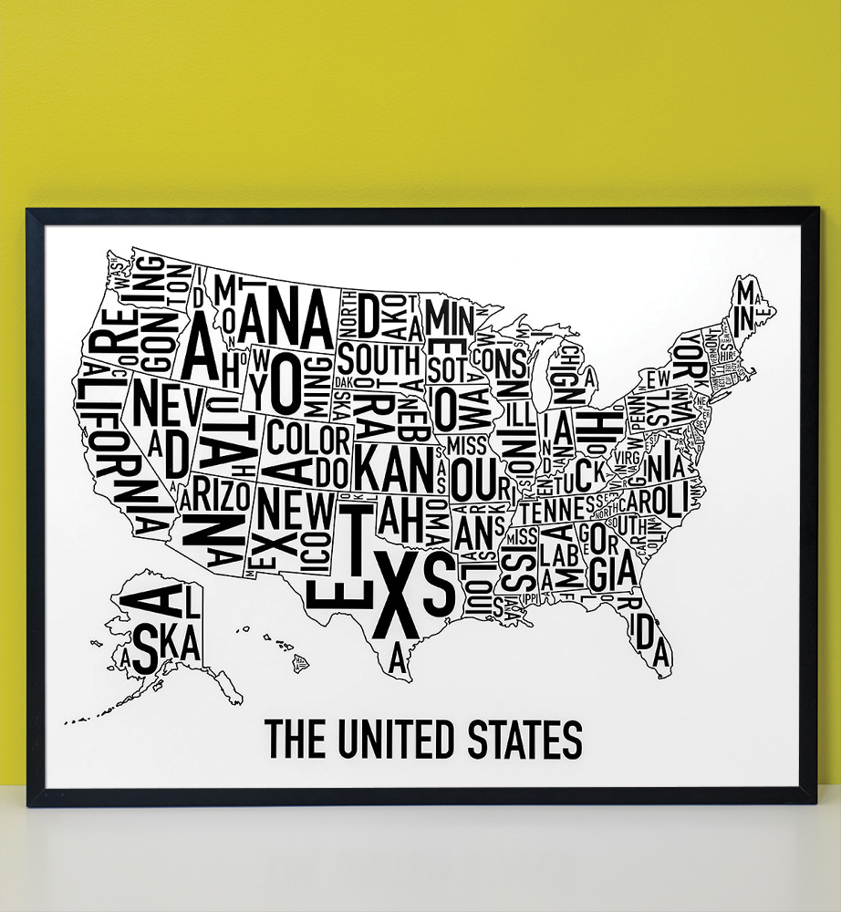 United States Map Picture Frame.United States Map 24 X 18 Classic Black White Poster