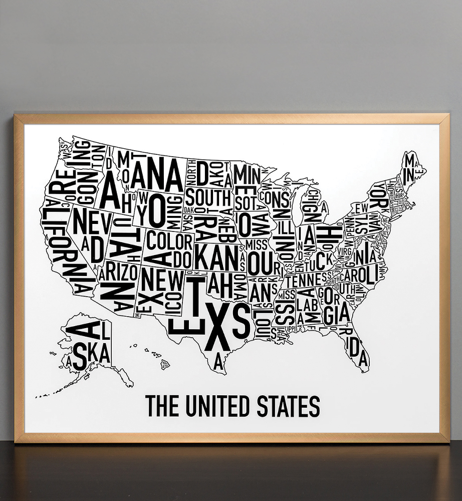 United States Map X Classic Black White Poster - United states map picture frame