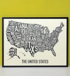 United States Map in Black Frame