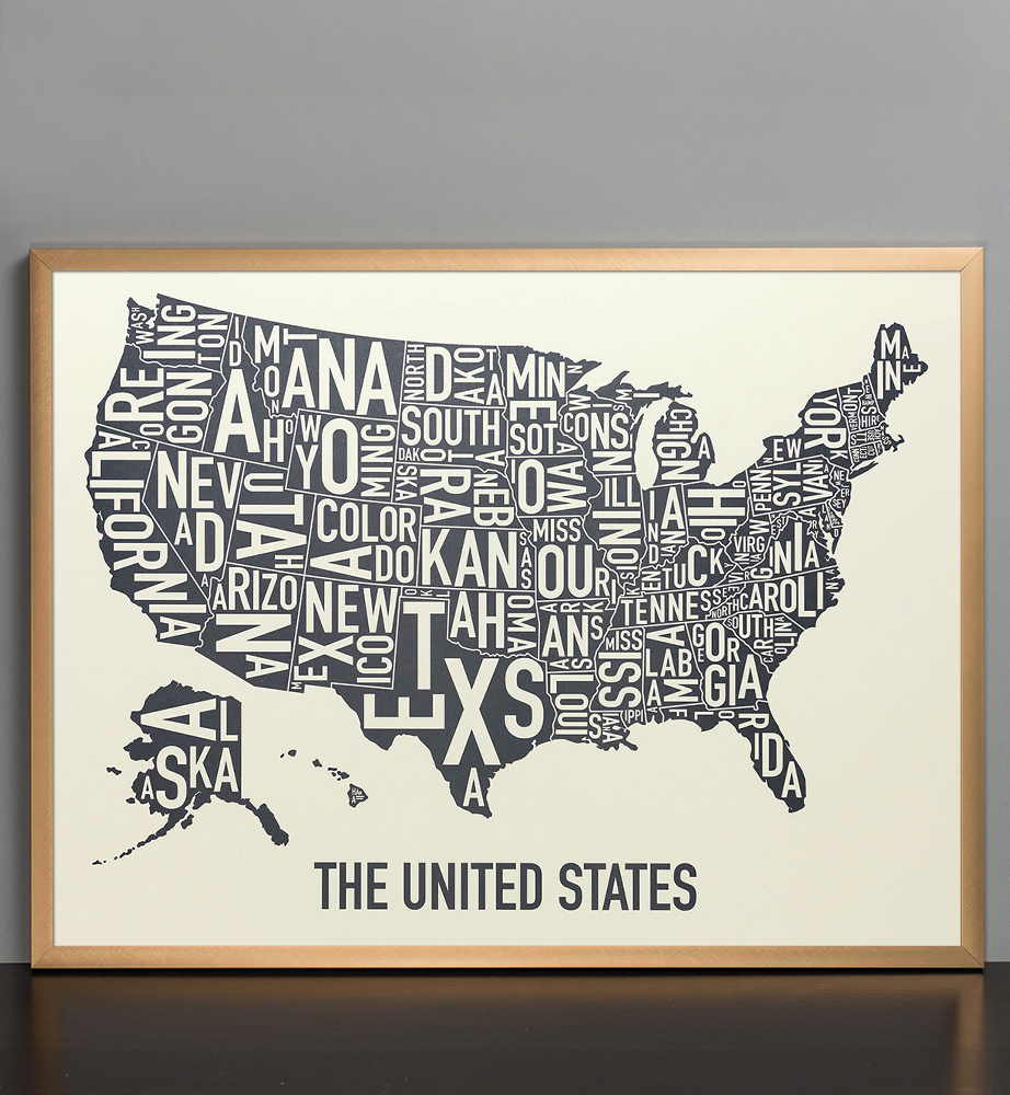 United States Map X Amber Waves Of Grey Poster - United states map picture frame