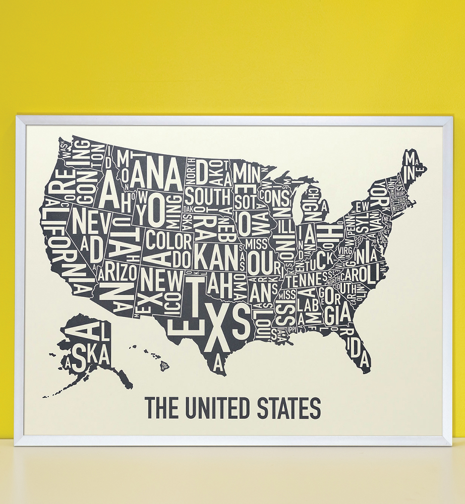 United States Map X Amber Waves Of Grey Poster - Us 24 map