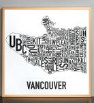 Vancouver Map in Bronze Frame