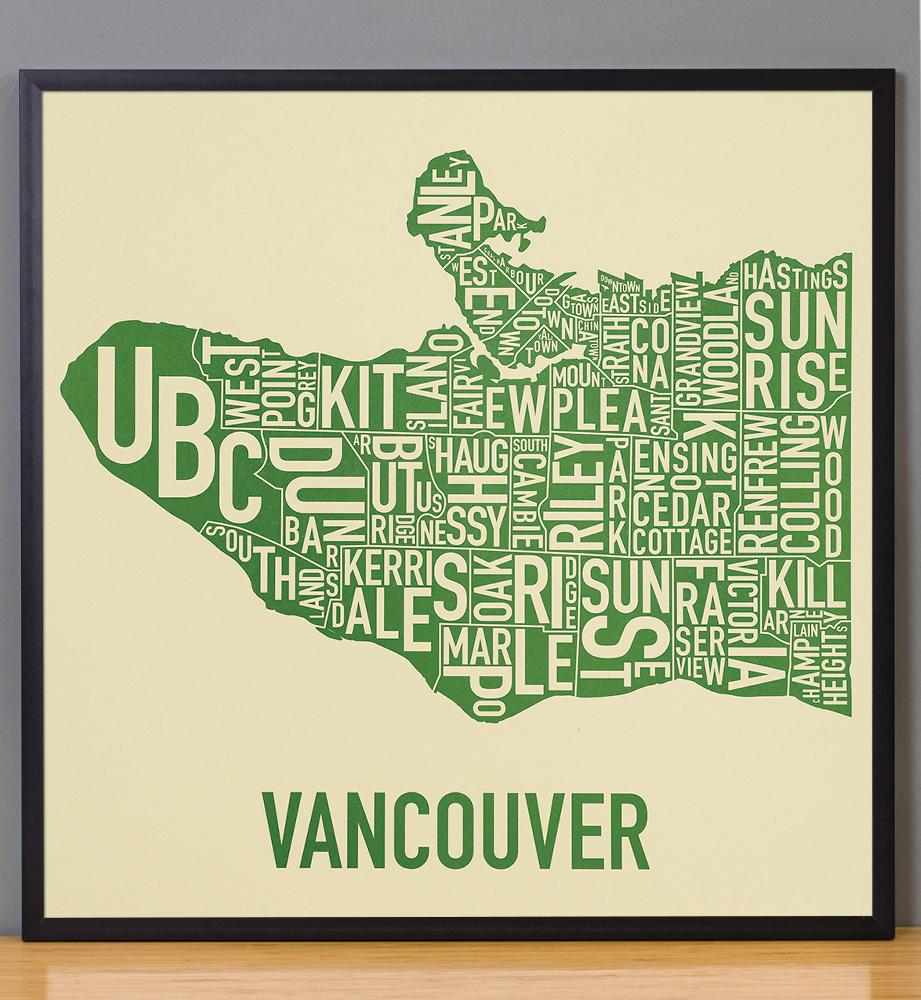 "Vancouver Neighbourhood Map 22"" X 22"" Stanley Park Green"