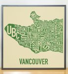 Vancouver Map in Grey Frame