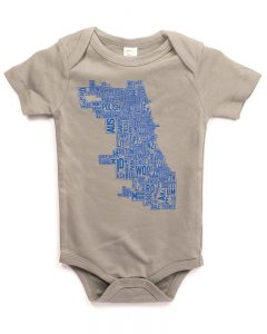 Chicago Baby Onesie in Grey