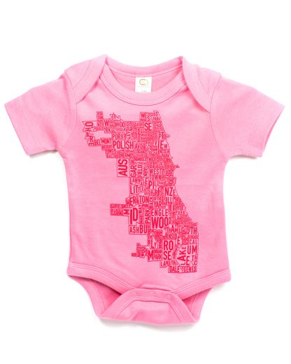 chicago map baby onesie pink