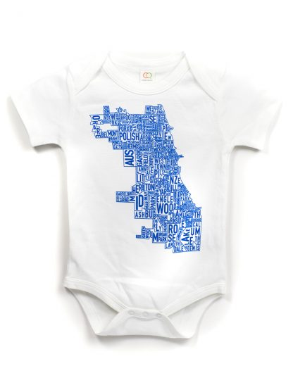 Chicago map baby onesie white and blue