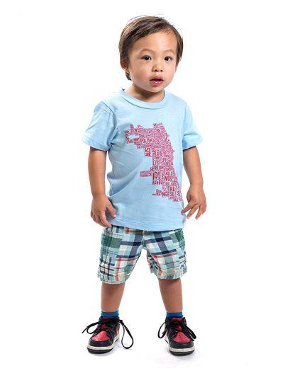 chicago neighborhoods map childrens tshirt in blue