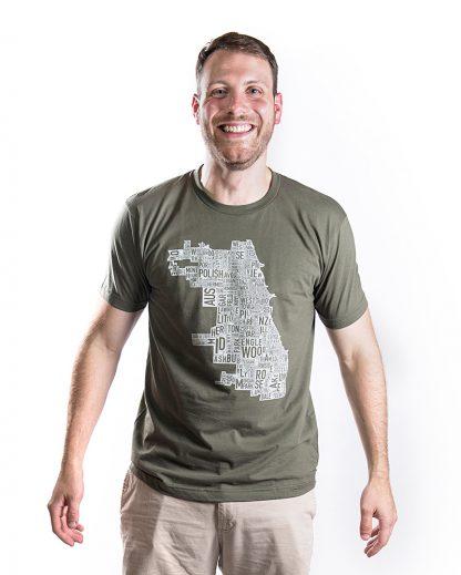 chicago neighborhood map tshirt mens in olive