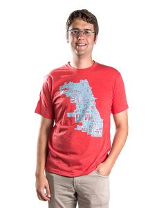 chicago map tshirt mens in red