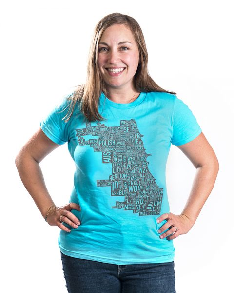 Chicago Map Womens Tshirt in Blue
