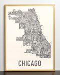 Chicago Map in Bronze Frame