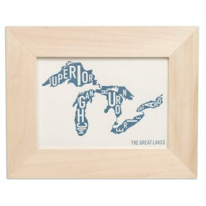 Great Lakes Letterpress Print