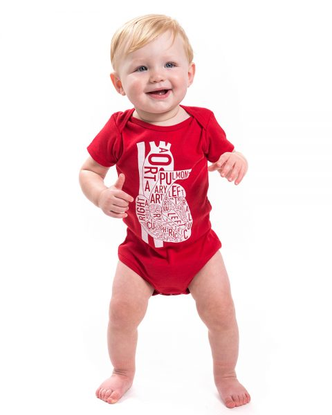 Heart Baby Onesie in Red
