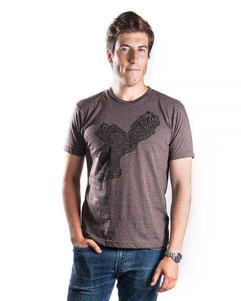 Philadelphia Men's Tee in Brown Heather