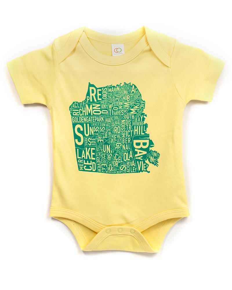 d2d2a6fce San Francisco Neighborhoods Map Baby Onesie