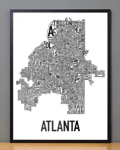 "Framed Atlanta Neighborhood Map Poster, 18"" x 24"", Classic B&W in Black Frame"