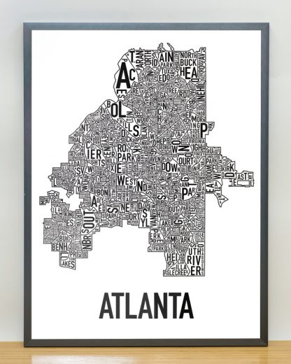 "Framed Atlanta Neighborhood Map Poster, 18"" x 24"", Classic B&W in Steel Grey Frame"