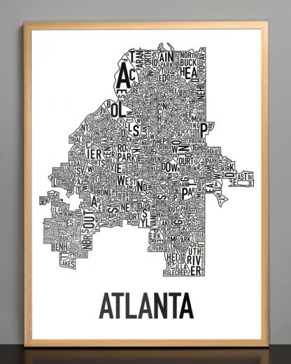 "Framed Atlanta Neighborhood Map Poster, 18"" x 24"", Classic B&W in Bronze Frame"