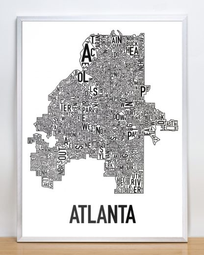 "Framed Atlanta Neighborhood Map Poster, 18"" x 24"", Classic B&W in Silver Frame"