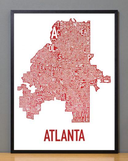 """Framed Atlanta Neighborhood Map Poster, 18"""" x 24"""", White & Red in Black Frame"""