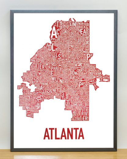"""Framed Atlanta Neighborhood Map Poster, 18"""" x 24"""", White & Red in Steel Grey Frame"""