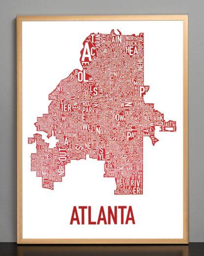 """Framed Atlanta Neighborhood Map Poster, 18"""" x 24"""", White & Red in Bronze Frame"""
