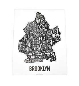 Brooklyn Neighborhoods 11x14 Classic Black & White Poster