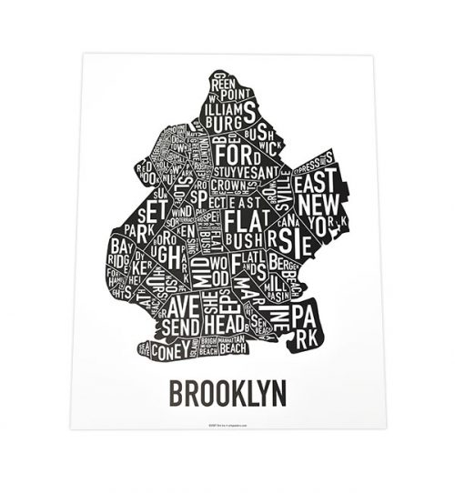Brooklyn Neighborhoods 11x14 Classic Black & White Poster