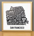 San Francisco Mini Map in Bronze Frame