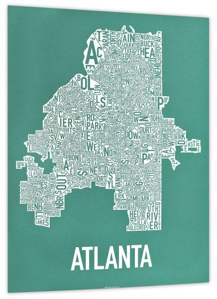 Atlanta Teal & White Print