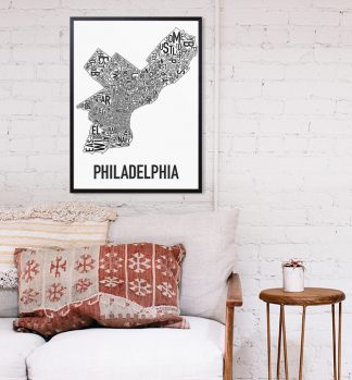 Philadelphia Typographic Neighborhood Map Artwork
