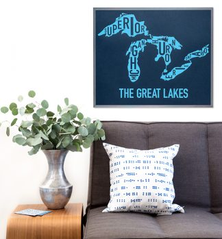 Great Lakes Type Map Poster