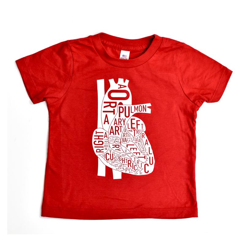 Heart Typographic Anatomy Kids T Shirt