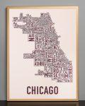 Chicago Fall Blush Print in Bronze Frame