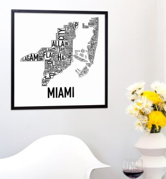 Miami Neighborhood Type Map Art