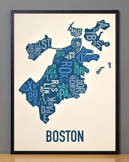 Boston neighborhood map print in multicolor in black frame