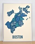 boston neighborhood typography map print in multi-color in silver frame