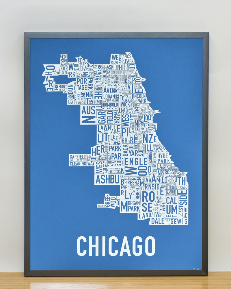 The Original Chicago Type Neighborhoods Map Locally Made In Chicago - Chicago map artwork
