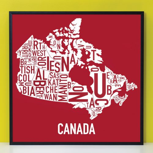 Canada Provinces Typography Map Red & White Print in Black Frame