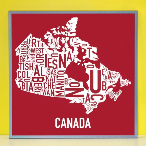Framed Canada Provinces Map Poster in Grey Frame
