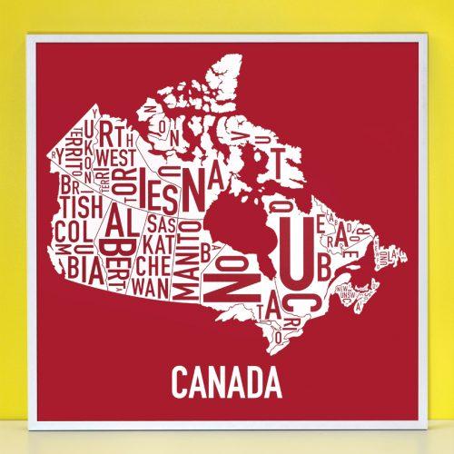 Canada Provinces Map Silkscreen in Silver Frame